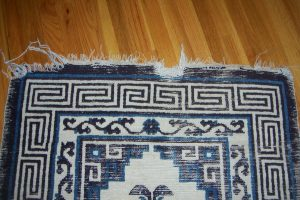 chinese oriental rug color run and fringe damaged