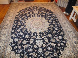 silk rug after stain removal & color restoration